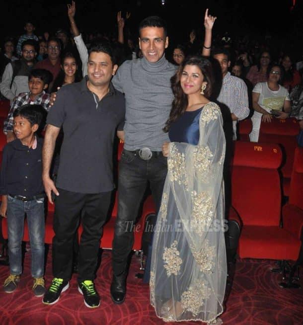 Akshay Kumar, Nimrat Kaur watch Airlift with fans