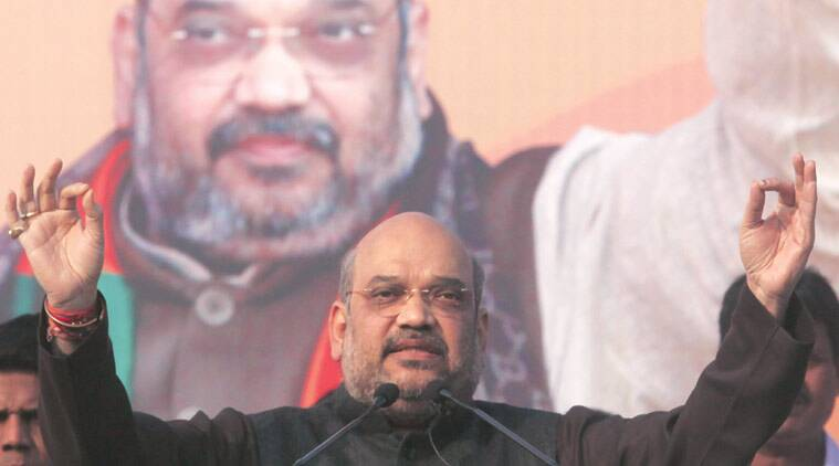 BJP national president Amit Shah , during a public meeting at Dumurjala , Howrah on January 25, 2016. (Express Photo by Partha Paul)