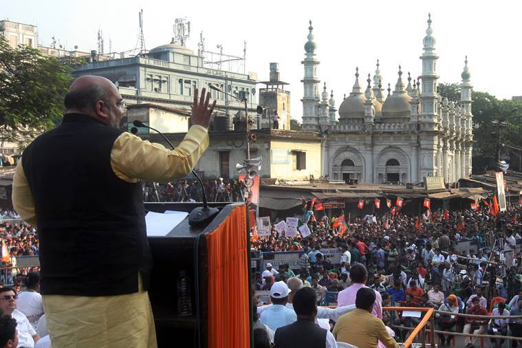 BJP National president Amit shah addressinng at a gathering during the Uprising day Rally in Kolkata on Sunday. Express photo by Partha Paul. Kolkata.30.11.14