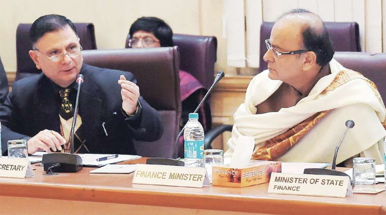 Finance Minister Arun Jaitley (R) at the pre-budget meeting in New Delhi on Monday. (Source: PTI)