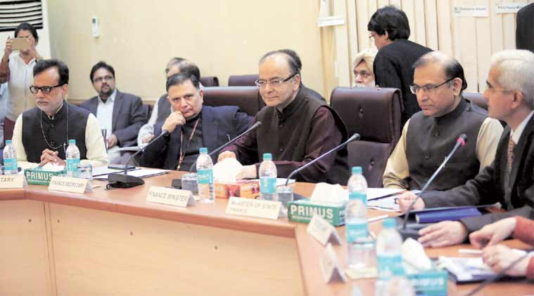 Finance Minister Arun Jaitley along with Revenue Secretary Hasmukh Adhia (left), Finance Secretary Ratan P Watal (second to left), Minister of State for Finance Jayant Sinha (second from right) and Economic Affairs Secretary Shaktikanta Das (right) at a pre-Budget meeting with economists and business editors in New Delhi. (Express Photo by: Tashi Tobgyal)