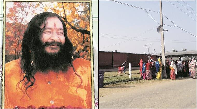 Baba Ashutosh; monitored by CCTV, a group of women visit the dera Wednesday. Express
