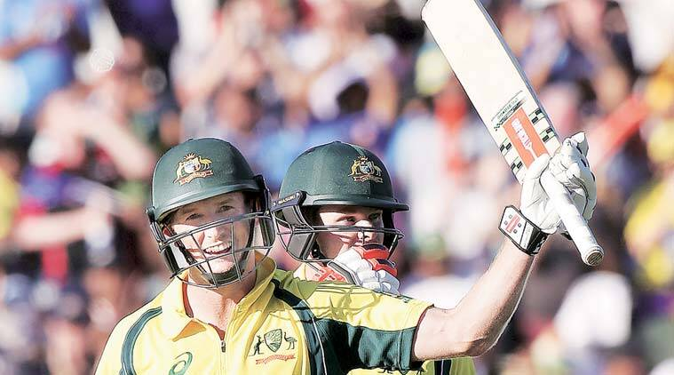 Bailey raises his bat after reaching the three-figure mark. Bailey (114) and Smith (149) revived the chase after the hosts were reduced to 21 for two. (Source: Reuters)