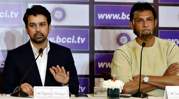 New Delhi: Chief selector Sandeep Patil with BCCI secretary Anurag Thakur during a news conference after a selection committee meeting to pick the India squad for Australia tour, in New Delhi on Saturday. PTI Photo by Shahbaz Khan (PTI12_19_2015_000268A)