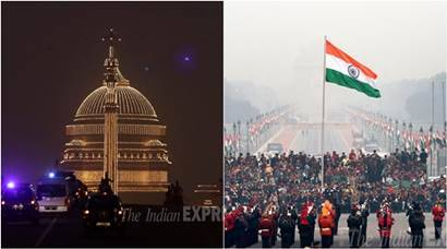 Beating Retreat ceremony, Beating Retreat ceremony Rehearsal, illuminated Rashtrapati Bhavan, Pranab Mukherjee, Beating Retreat ceremony Pics, Beating Retreat ceremony Photos, President Buggy, tri services band, Camel cavalry, Raisina Hills, Rashtrapati Bhavan