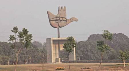 Open hand Monument at Capitol Complex Chandigarh. Express photo by Kamleshwar Singh
