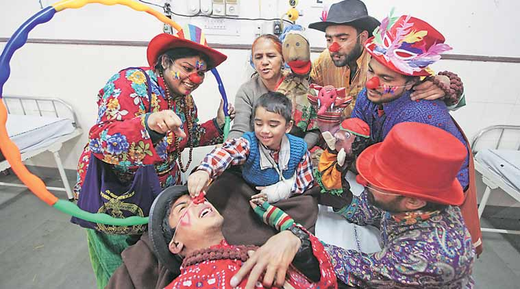clowns, chandigarh clowns, clowns in chandigarh, chandigarh hospital clowns, ceva, ceva chandigarh, chandigarh news, india news