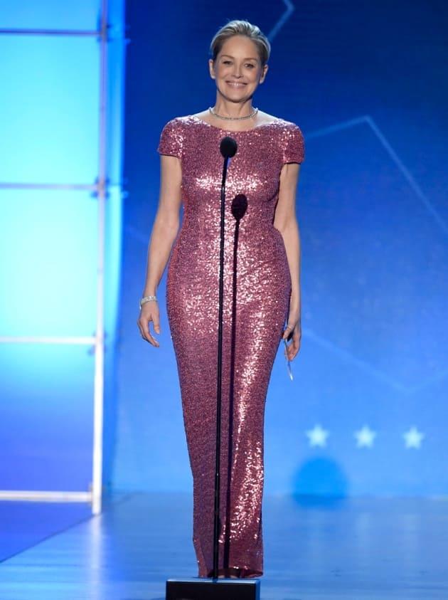 critics choice awards, critics choice awards red carpet, critics choice awards best dressed, critics choice awards worst dressed, Jennifer Aniston, Sharon Stone, 'Big Bang Theory', Mayim Bialik