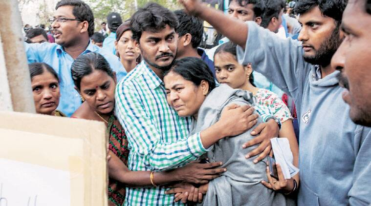 Rohith's mother Radhika at the University of Hyderabad campus, Tuesday. (Express Photo by: Harsha Vadlamani)