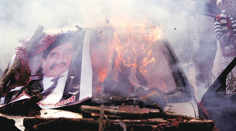 Dawood Ibrahim's car, sold at an auction in December last year, burns in Ghaziabad. (Express Photo by Gajendra Yadav)