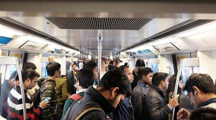 Delhi Metro saw large crowd due to the odd-even license plate rule on New Year's. Express photo by Cheena Kapoor 040116