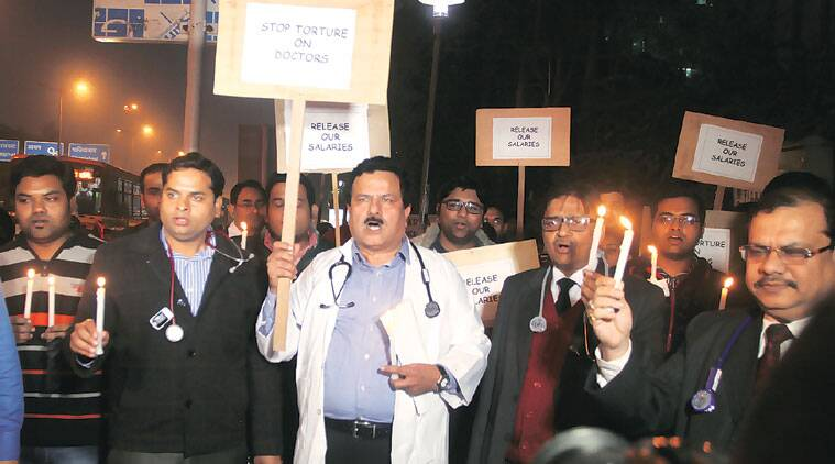 Civic hospital staff in Delhi organise protest over pending