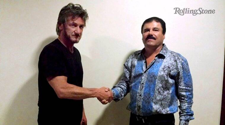 """Actor Sean Penn (L) shakes hands with Mexican drug lord Joaquin """"Chapo"""" Guzman in Mexico, in this undated Rolling Stone handout photo obtained by Reuters on January 10, 2016."""