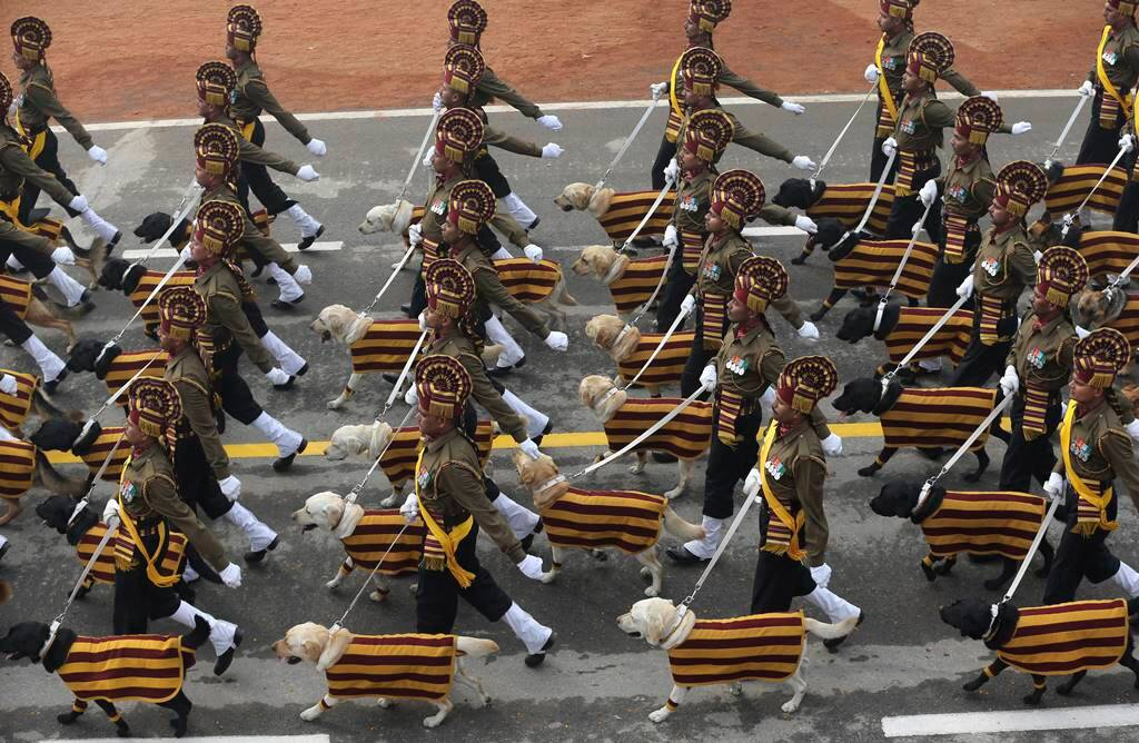 The Indian Army's dog squad marches down Rajpath during the Republic Day parade in New Delhi. AP Photo
