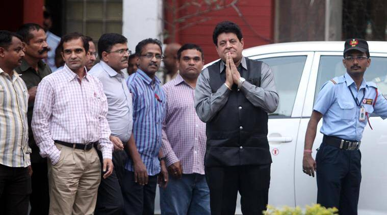 FTII chairman Gajendra Chauhan with FTII Director Prashant Patrbe during Chauhan's first visit at FTII on Thursday. Express Photo by Arul Horizon, 07-01-2016, Pune
