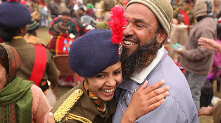 A Muslim girl Rubeena Khatoon hug her father after passing out parade of 500 lady soldiers of GD cadres at basic training centre of ITBP force at Bhanu camp, Ramgarh, Panchkula on Friday, January 15 2016. Express photo by Jaipal Singh