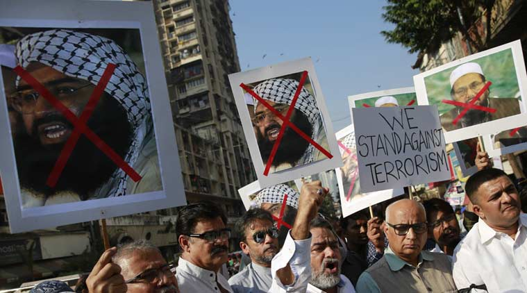 Protesters shout slogans against Masood Azhar and other JeM leaders. (File/Reuters)