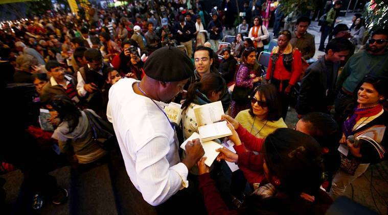 Ben Okri being mobbed by fans at the Jaipur Literature Festival on Saturday. Express photo by Oinam Anand. 21 January 2012