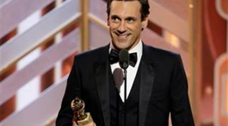 Jon Hamm, Jon Hamm golden globe, Mad Men, Jon Hamm's name on Golden Globe trophy, golden globe news, entertainment news