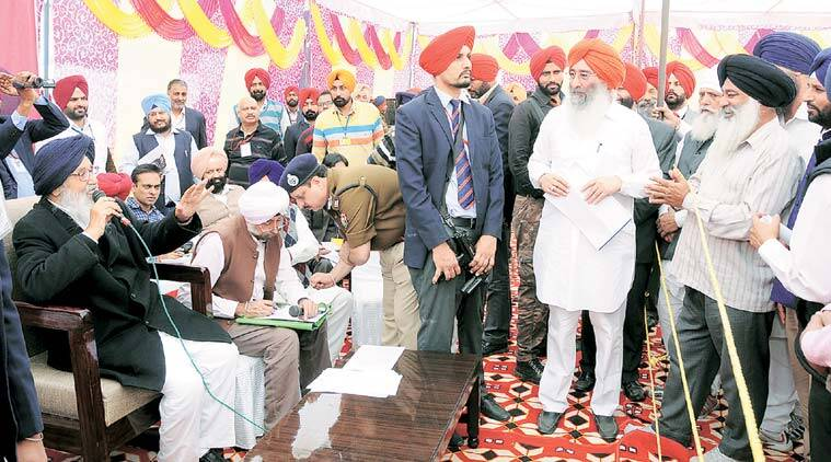 Punjab Chief Minister Parkash Singh Badal during a tour of Khadoor Sahib constituency shortly after the Congress MLA resigned. (Source: Rana Simranjit Singh)