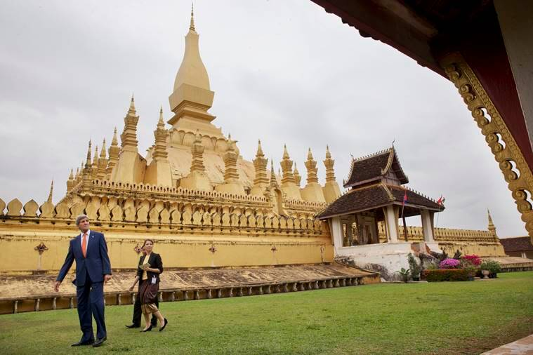 U.S. Secretary of State John Kerry, left, tours Pha Tha Luang in Vientiane, Laos, Monday, Jan. 25, 2016. The massive gold stupa is the most important national symbol in Laos. Kerry is in Laos on the third leg of his latest round-the-world diplomatic mission, which will also take him to Cambodia and China. (AP Photo/Jacquelyn Martin, Pool)