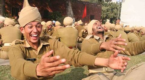 Punjab police Jawans participating in Laughter excercise during the celebration of New Year Party at Punjab Armed Police academy jalandhar on friday *** Local Caption *** Punjab police Jawans participating in Laughter excercise during the celebration of New Year Party at Punjab Armed Police academy jalandhar on friday. photo by sarabjit singh