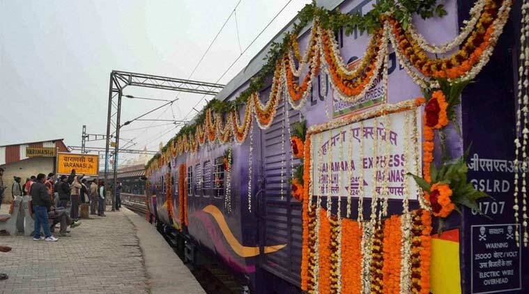 'Mahamana Express', in Varanasi, Uttar Pradesh on Friday. (PTI Photo)