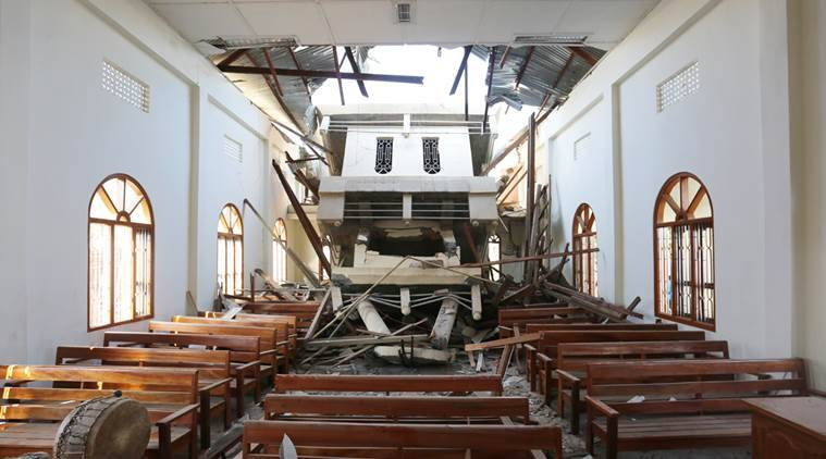 A church that was damaged in the earthquake in Leimakhong, Manipur on Monday. Express photo by Deepak Shijagurumayum. 04 January 2016