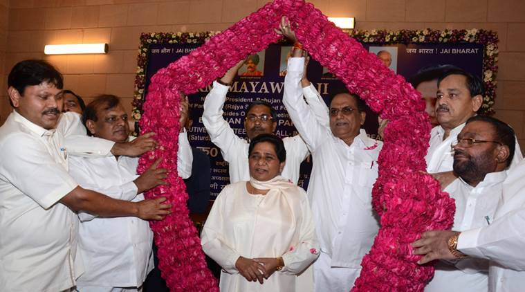 Bahujan Samaj Party Supreemo Mayawati being welcomed by garland by party senior leaders at party organised state workers meeting at state party head office in Lucknow. Express photo by Vishal Srivastav 30.08.2014