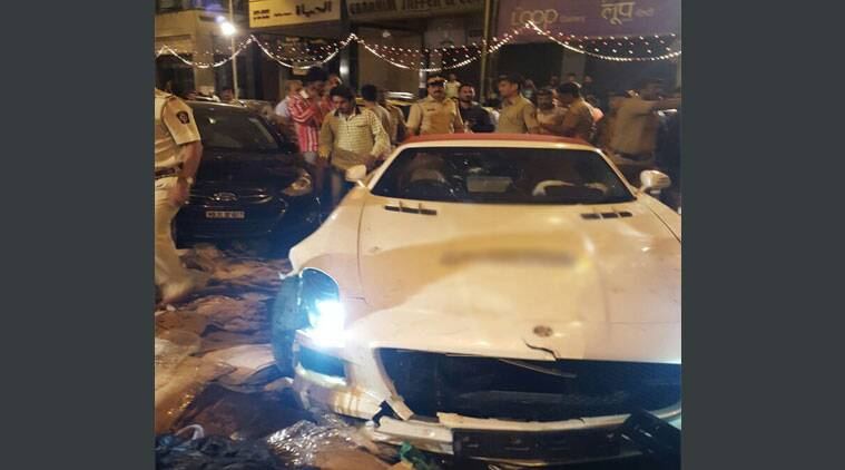 The Mercedes car involved in the hit-and-run accident in Mumbai (Express photo)
