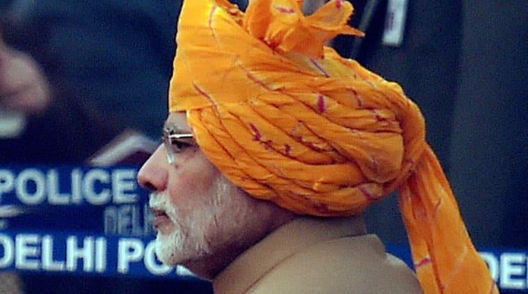 Prime Minister Narendra Modi at the 67th Republic Day parade at Rajpath in New Delhi on Tuesday. (Source: PTI)
