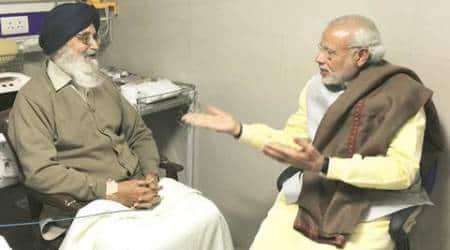 narendra modi, parkash singh badal, modi meets badal, badal hospitalized, badal in hospital, modi meet badal in hospital