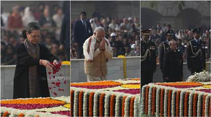 President Mukherjee, PM Modi, Sonia remember Mahatma Gandhi on his 68th death anniversary