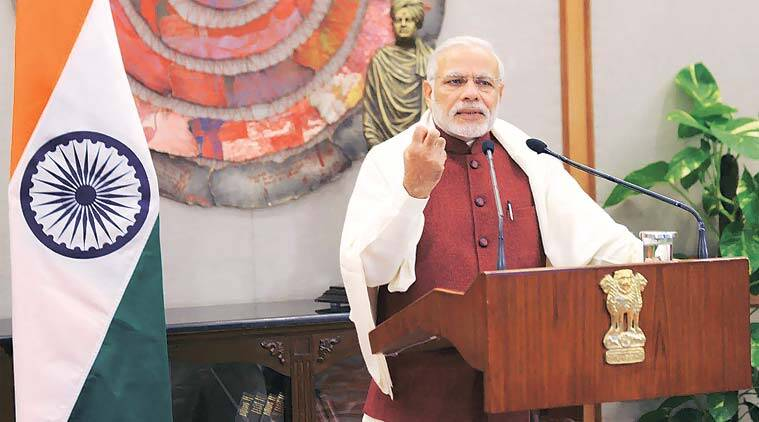 The PM addresses the National Youth Festival in Naya Raipur through video-conferencing Tuesday. (Source: PTI)