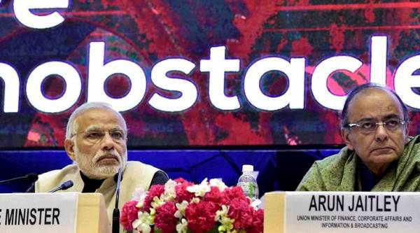 "Prime Minister Narendra Modi with Finance Minister Arun Jaitley during the launch of ""Startup India"" action plan at Vigyan Bhawan in New Delhi on Saturday. (PTI Photo by Kamal Kishore)"