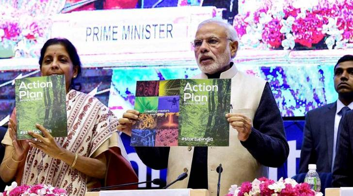 "Prime Minister Narendra Modi with Finance Minister Arun Jaitley and Commerce and Industry Minister Nirmala Sitharaman launching the ""Startup India"" action plan at Vigyan Bhawan in New Delhi on Saturday. (PTI photo)"