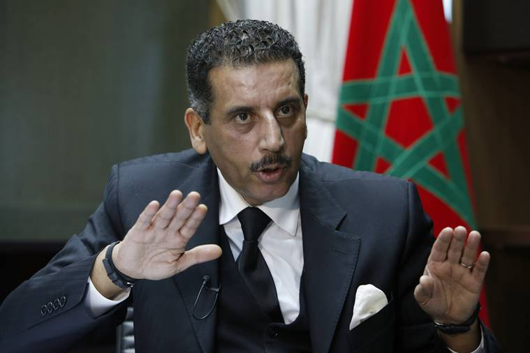 The director of the Central Bureau of Judicial Investigations, Abdelhak Khiame, gestures during an interview with The Associated Press at his headquarters in Sale near Rabat, Morocco. AP Photo