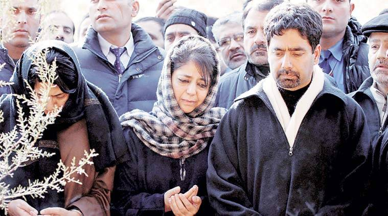 Mehbooba Mufti with brother Tassaduq in Bijbehara. (source: PTI)