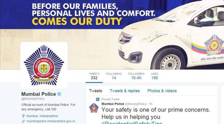 A screenshot of the Twitter account of Mumbai Police