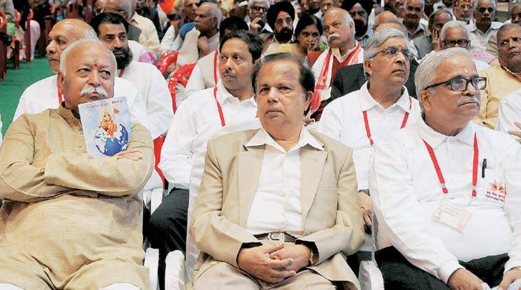 G Madhavan Nair with Bhagwat in Indore earlier this month. (Source: PTI)