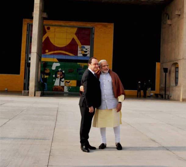 Francois Hollande, Narendra Modi, Rock Garden Chandigarh