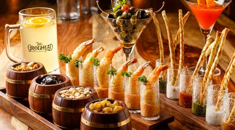 Nibbles - Fruit & Nuts in barrels & Knock-out Shrimp Shooters