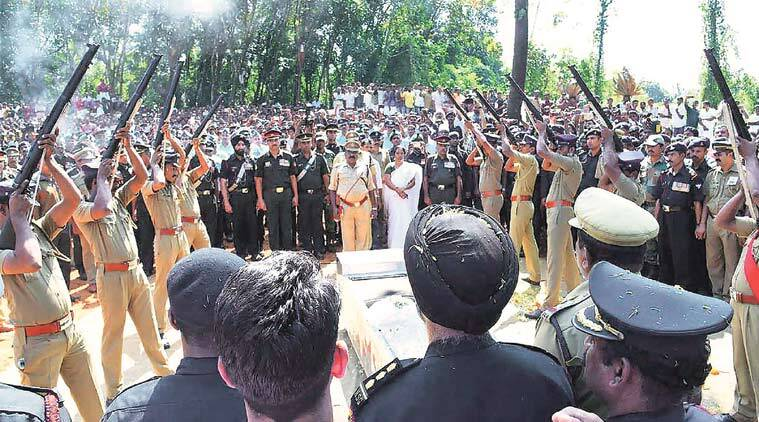 At Lieutenant Colonel Niranjan's funeral in Palakkad on Tuesday. PTI