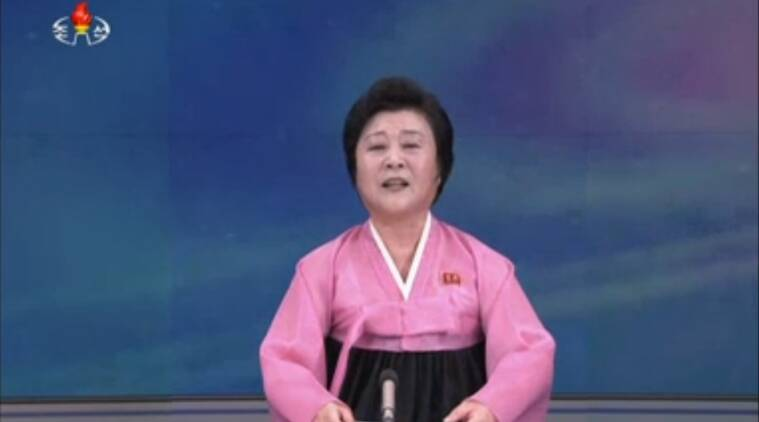 In this image made from video from KRT, the North Korean state broadcaster, a North Korean woman speaks during a broadcast aired on Wednesday, Jan. 6, 2016. North Korea says it has conducted a hydrogen bomb test. The surprise announcement that complicates already difficult efforts to curb the country's push for a working nuclear arsenal. (KRT via AP Video)