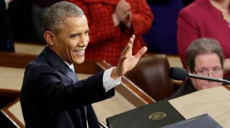 FILE - In this Jan. 20, 2015, file photo, President Barack Obama waves before giving his State of the Union address before a joint session of Congress on Capitol Hill in Washington. Obama will deliver his final State of the Union address Tuesday, Jan. 12, 2016, to a nation with a burgeoning job market, flat wages and two things that to the president's dismay are rising: global temperatures and Americans' concerns about terrorism.  (AP Photo/Pablo Martinez Monsivais, File)