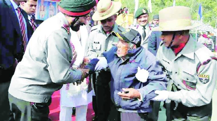 old man, manipur old man, Assam Rifles, manipur, ex-servicemen's rally, manipur ex-servicemen's rally, manipur news, Indian National Army, INA, Saolet Haokip