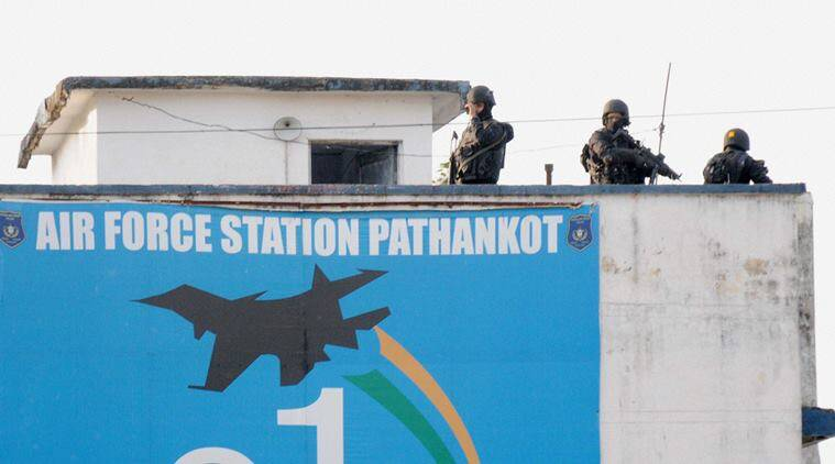 Pathankot: Security personnel guarding at a position inside the Pathankot Air Force base after the end of the military operation against militants on Tuesday. PTI Photo (PTI1_5_2016_000201B)