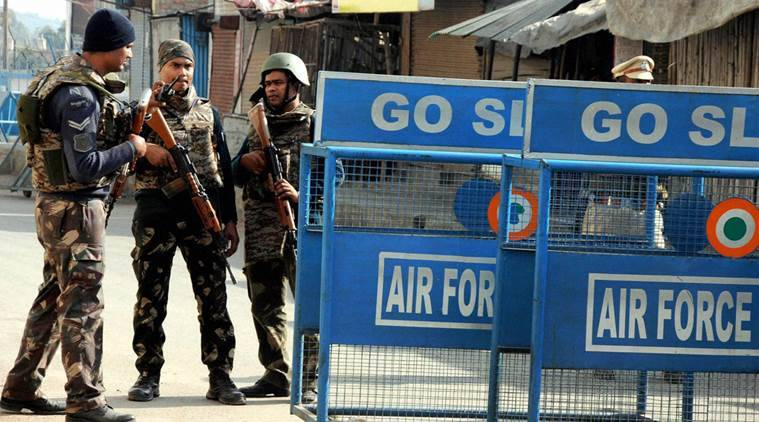 Pathankot: Security beefed up at Pathankot Air Force base during the visit of PM Narendra Modi on Saturday following a recent attack by terrorists on the base. PTI Photo (PTI1_9_2016_000164B)