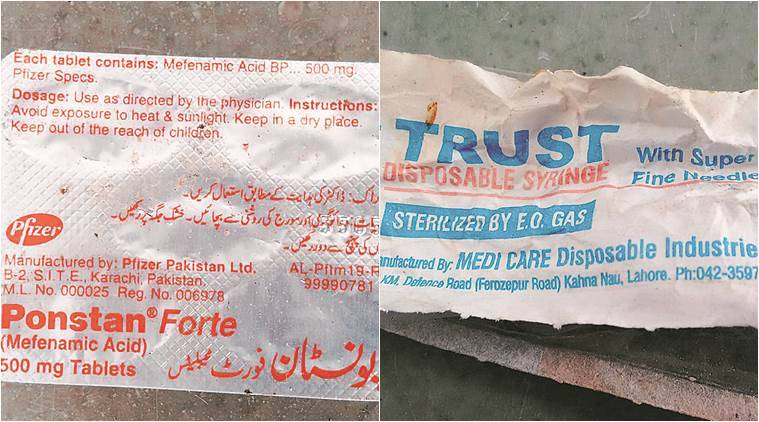 Strips of Ponstan painkiller tablets (right) found on the bodies of the four terrorists who were killed. The strip shows it was made in Karachi. Syringes as well as vials of injectible Neurobion were also found.