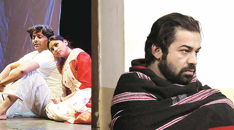 A scene from the play (left); Happy Ranajit